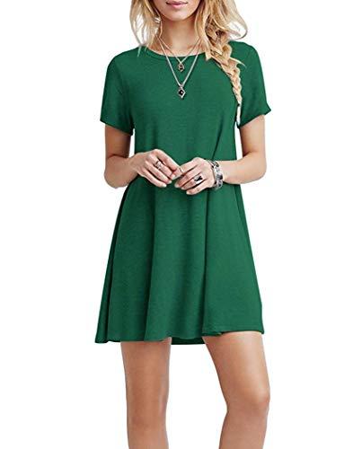 Falechay Kleid Damen Sommerkleid Tunika Freizeitkleid Atmungsaktives Rundhals Kurzarm Knielang T-Shirtkleid Grün-L