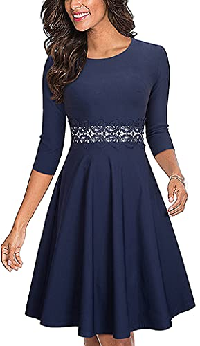 HOMEYEE Women's Cocktail A-Line Embroidery Party Summer Wedding Guest...