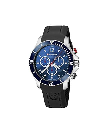 Wenger Unisex Chronograph Quarz Uhr mit Silikon Armband 01.0643.110