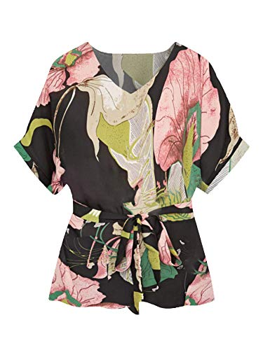 Milumia Women's Casual V Neckline Short Sleeve Self Tie Dressy Work Blouse Tunic Tops Black and Floral Medium