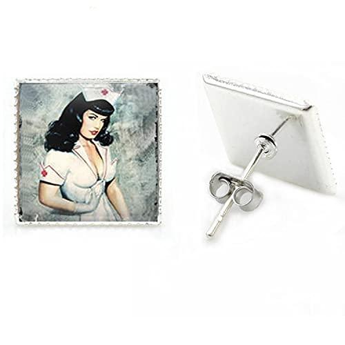 Vintage enfermera pendientes de moda colgantes Pin Up chica anatomía foto árbol flor hombres mujeres joyas