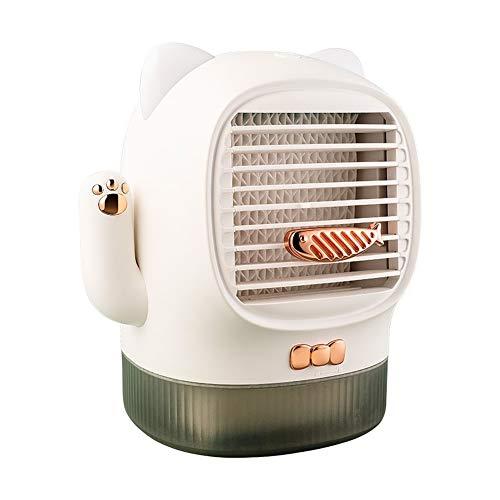 DuDu Mini ventilador de escritorio de gato de la suerte, ventilador de aire acondicionado humidificador, esterilización y purificación de aire acondicionado para oficina, jardín, aula, sala de estar