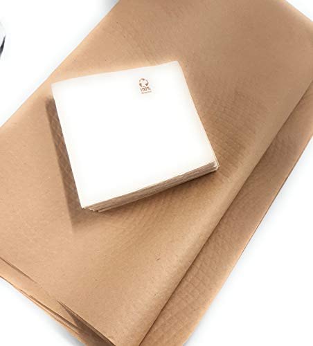 10 Manteles papel kraft 120 x120 cm 100 servilletas