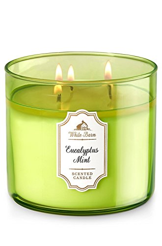 Dpnamron Bath & Body Works White Barn Eucalyptus Mint Scented 3 Wick Candle...