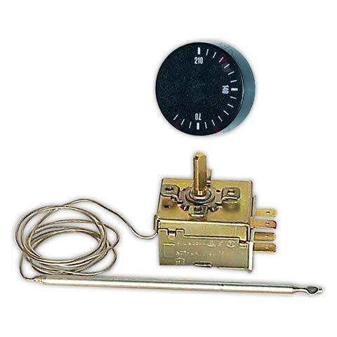 DOJA Industrial | Termostato 0/210° Con mando | Temp. 0/210° Bulbo 125 mm diámetro 5 mm Inox/Conmutado