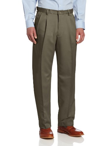Haggar Men's Cool 18 Heather Solid Pant - Regular - 34W x 29L - Taupe