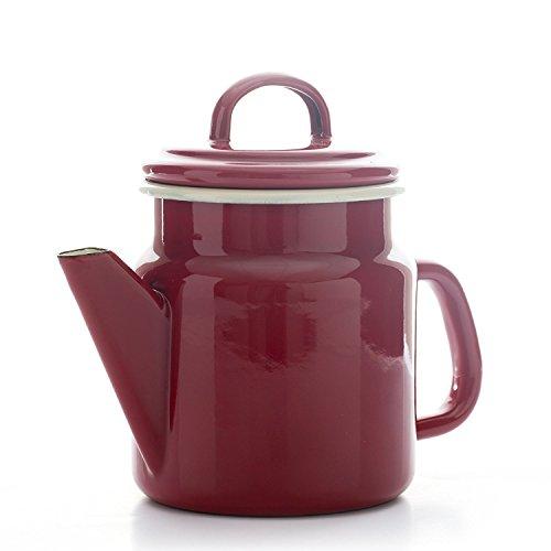 Dexam 17819208 Vintage Home - Cafetera pequeña (1,2 L), color beige, Esmaltado, Rojo