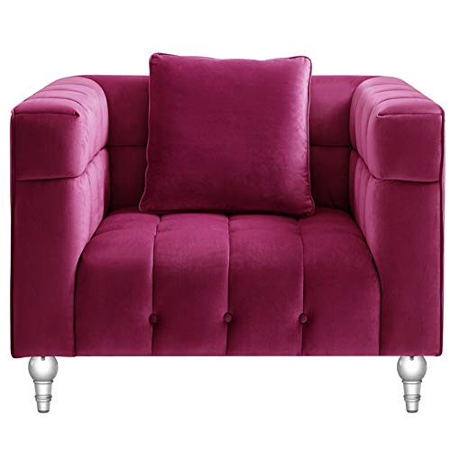Adalyn Club Chair Fuchsia Pink Velvet Biscuit Tufted Lucite Leg