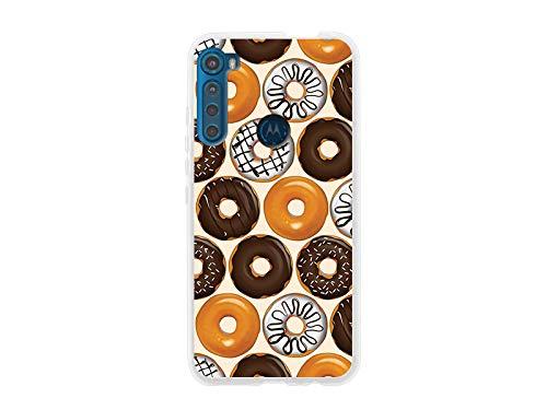 etuo Hülle für Motorola One Fusion Plus - Hülle Fantastic Hülle - Bunte Donuts Handyhülle Schutzhülle Etui Hülle Cover Tasche für Handy
