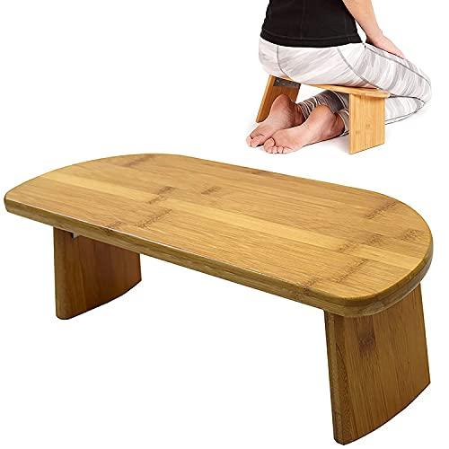 ZZLYY Banco De Meditación con Patas Plegables, Taburete De Meditación Rodillas, Silla De Meditación Ergonómica Bambú, Banco De Yoga para Práctica Prolongada