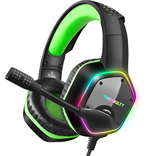Fire-Boltt BGH1300 Gaming Headset with 7.1 Surround Stereo Sound for PS4 PS5 PC USB Gaming Headphones with Noise Canceling Mic & RGB Light Over Ear Headphones, Compatible with PC, PS4 PS5 Console