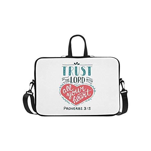 InterestPrint Christian Bible Verse Proverb Trust in The Lord Laptop Sleeve Case Waterproof Neoprene Notebook Bag 15 15.6 Inch for Women Men