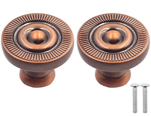LBY 10pcs Antique Style Bronze Metal Drawer Cabinet Decorative Pull Handle Knob, Wardrobe Door Single Hole Pull, Round Knobs(Dia. 26mm/1.02'') Zinc Alloy Red Bronze-Coloured