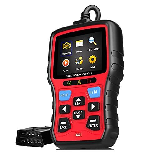 WWMH Diagnosis Coche,Máquina de Diagnosis OBD2, para vehículos, para el Control de la luz de avería del Motor, el Sistema de sensores O2 y el OBD, Lector de código, Herramienta de escaneo