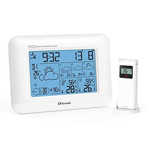 Oritronic Meteotime Wetterstation Funk mit Außensensor, Wetterstationen innen und außentemperatur Funk mit Außensensor, digital Hygrometer für Innen, betrieben Uhr mit Thermometer(Weiss)