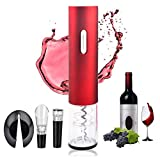 Electric Wine Opener - Automatic Electric Wine Bottle Opener with Foil Cutter, Professional Battery Automatic Corkscrew Opener Set with Gift Box for Family, Hotel, Restaurant (Red)