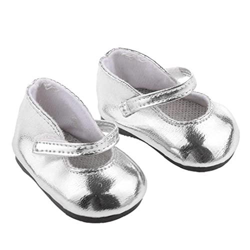 1 par Miniatura metálico Brillante de Plata de la muñeca Zapatos ataques 18 En Adorable muñeca de niña Inicio de Accesorios