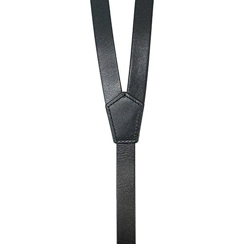 Ideal para Vestir Casual Cuero Genuino de Color Negro Brillante Lawevan Tirantes Hombre Estilo Steampunk Elegante y Formal 3 Ganchos de Presión
