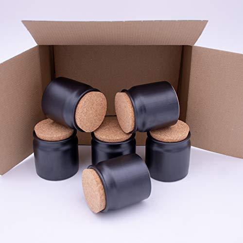 Flaschenbauer - 6 Tonbehälter 140ml zum aufbewahren von Kräutern und Gewürzen Schwarz - Tonbecher inkl. Korkdeckel zum befüllen