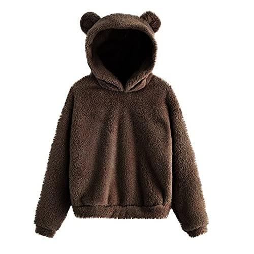 Chejarity Damska bluza z kapturem Crop Hoodie z pięknymi uszami niedźwiedzia, pluszowy płaszcz z pluszu, kurtka softshellowa, outdoorowa kurtka w czasie wolnym, kurtka królika, kurtka zimowa, Shaggy, Windbreaker z kieszeniami i zamkiem błyskawicznym, kawa, 5XL