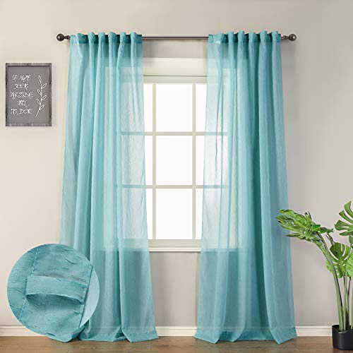 """MYSKY HOME Crushed Voile Sheer Curtains for Living Room Back Tab and Rod Pocket Window Treatment Crinkle Sheer Curtains(2 Panels, 51"""" x 84"""", Teal)"""
