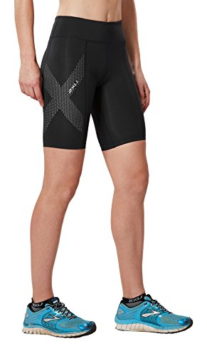 2XU Women's Mid-Rise Compression Shorts, Black/Dotted Reflective Logo, Small