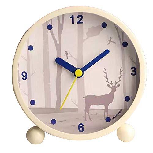 Sherry - Reloj despertador redondo silencioso para mesita de noche, sin pinchazos
