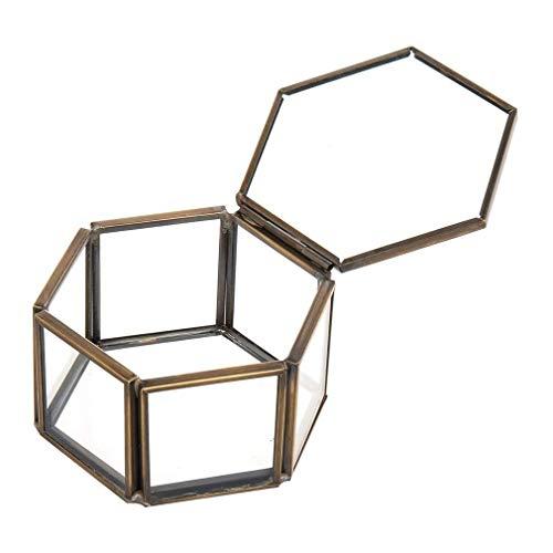 LYD Caja de almacenamiento de joyas con adornos para joyería y anillo de boda, contenedor de escritorio, collar, pulseras, pendientes, almacenamiento de joyas de bronce