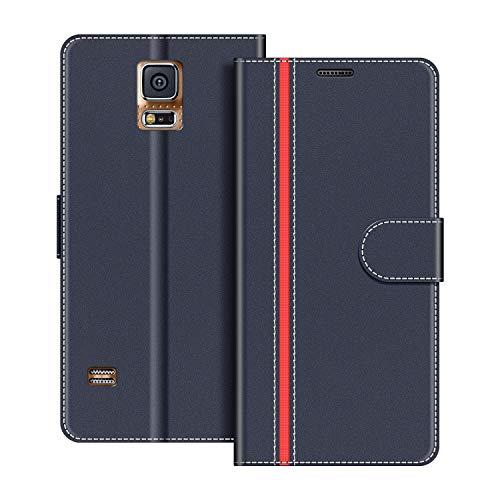 COODIO Custodia per Samsung Galaxy S5, Custodia in Pelle Samsung Galaxy S5, Cover a Libro Samsung S5 Magnetica Portafoglio per Samsung Galaxy S5 / S5 Neo Cover, Blu Scuro/Rosso