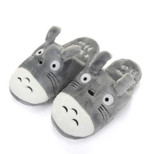 GLEYDY Unisex Flache Hausschuhe Totoro Tier Plüsch Hausschuhe Home Floor Fashion Comfort Indoor Chinchilla Schuhe,003,42/43EU
