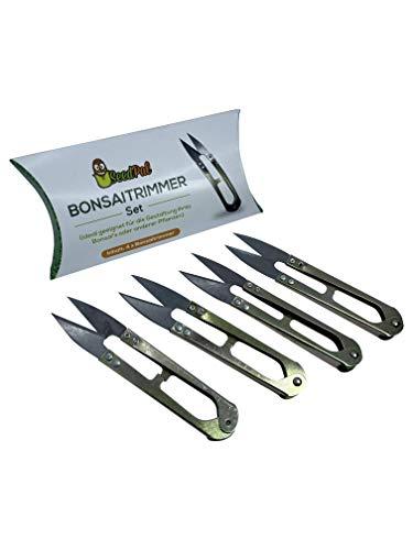 SeedPal - Bonsaischere Blattschere Trimmer - 4 Stück - Trimmen, stutzen, schneiden & gestalten Sie Ihren Bonsai, Blatttrimmer Set - mini Ernteschere, Kräuterschere, Cutter, Pflanzenschere