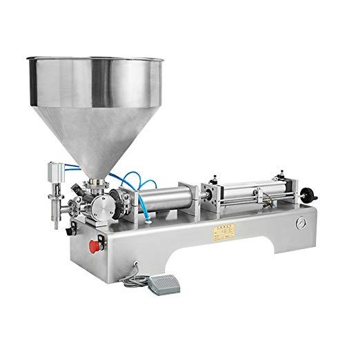 IDABAY Abfüllmaschine Maschine Füllmaschine Pneumatische Füllpaste und Flüssigkeit Horizontal Halbautomatischer Einzelkopffüller für kosmetisches Cremeshampoo mit Pedal 100-1000ML