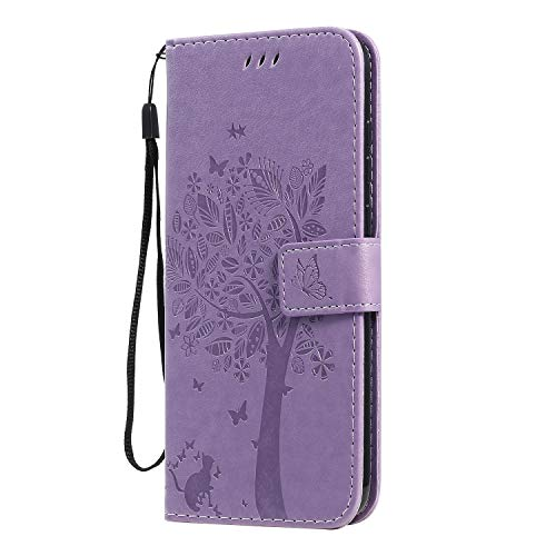 Hülle für Galaxy M11 Hülle Leder,[Kartenfach & Standfunktion] Flip Case Lederhülle Schutzhülle für Samsung Galaxy M11 - EYKT020432 Lila