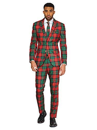 OppoSuits Weihnachtsanzüge für Herren – Besteht aus Sakko, Hose und Krawatte, Tartan, 46 EU