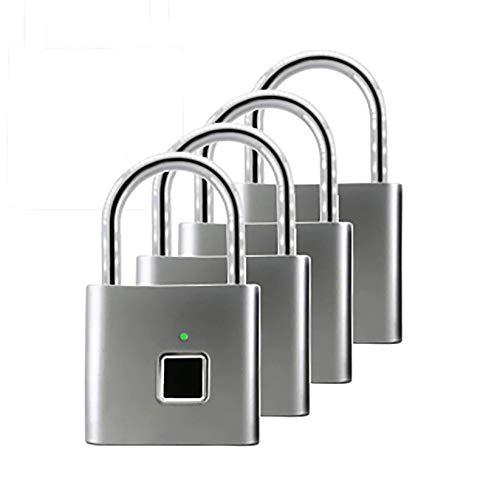 LIskybird Candado Inteligente con Huella Dactilar, Cerradura de Combinación de Huellas Dactilares, Carga USB, Antirrobo, Seguridad Doméstica (Paquete de 4),Gris