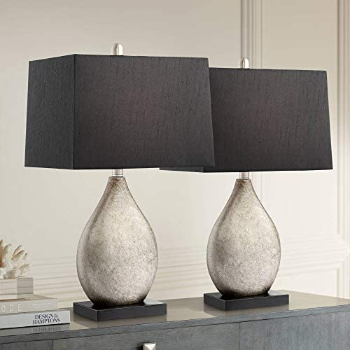 Marco Modern Table Lamps Set of 2 with Black Rectangular Shade for Living Room Family Bedroom product image