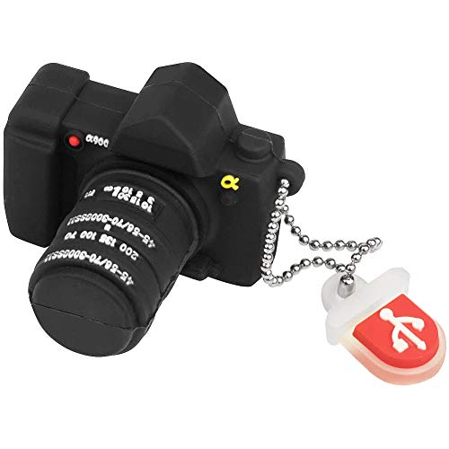 LEIZHAN Memoria USB 32GB cámara,Pendrive USB Flash Drive Impermeable Silicona Regalo para Niños,Estudiantes(Camara Negra,32GB)