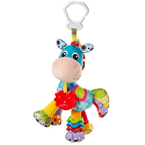 Playgro Peluche de Actividades Caballo Clip Clop, Juguete para Colgar, Desde el nacimiento, Azul/Multicolor, 40182