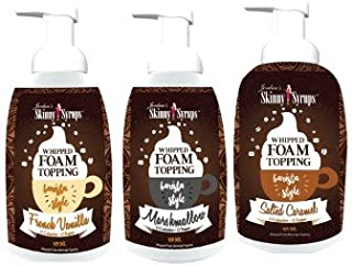 Jordan's Skinny Gourmet Syrups Barista Style Whipped Foams - French Vanilla, Salted Caramel, Marshmallow