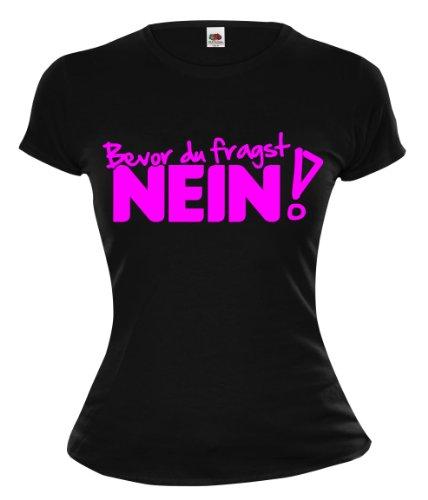 buXsbaum Girlie T-Shirt Bevor du fragst NEIN-M-Black-Neonpink