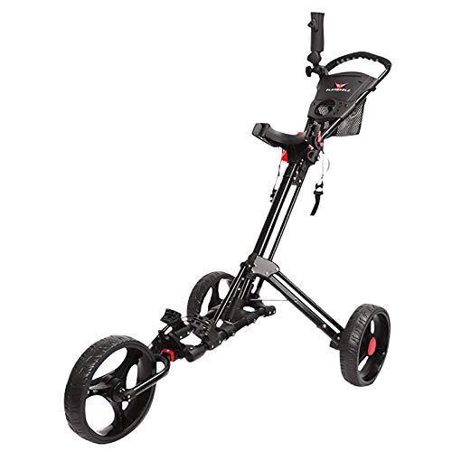 QQLK Golftrolley Faltbar, Unisex, 3 Rad Faltbarer Golf Pull/Push Trolley, Aluminiumlegierung, Golf Pull Cart FüR Golfsport Im Freien,Schwarz