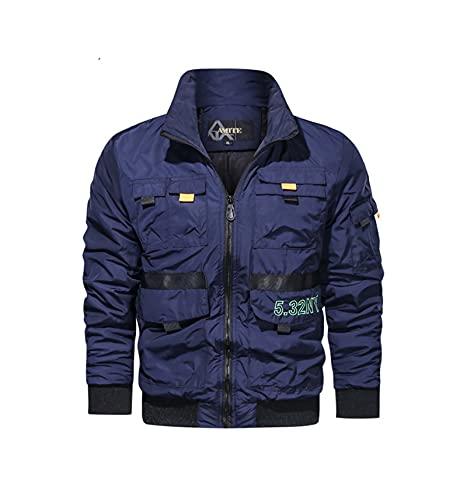 HUSHION Chaqueta Militar de Hombre Soporte Blusa de Cuello Multi-Pocket Casual Classic Coat Blue- XL
