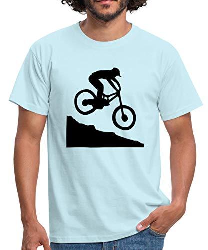 Spreadshirt Descente VTT Downhill T-Shirt Homme, L, Ciel