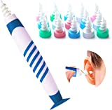 Q-Grips Ear Wax Remover, Soft Silicone Earwax Removal Tool, Spiral Safe Ear Wax Removal Tool with 16 Replacement Heads, Ear Cleaner for Humans Adults & Kids
