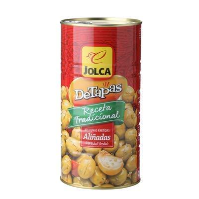 JOLCA - Grüne Oliven Traditionelles Rezept - Dressed Split Olives - Verdial Sorte - Ideal für Tapas 1450 g Netto