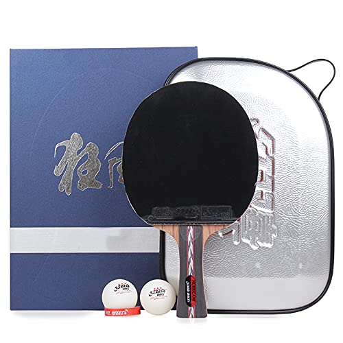 LINGOSHUN Juego de Raquetas de Ping Pong con Estuche,Raquetas de Tenis de MesaProfesional para Nivel Intermedio Y Avanzado / 1 Pack/Long handle