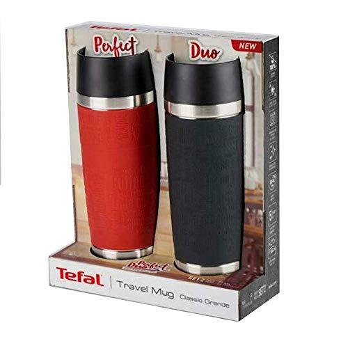 Tefal Thermobecher, doppelwandig, vakuumisoliert, Edelstahl, 500 ml, Rot/Schwarz, 2 Stück