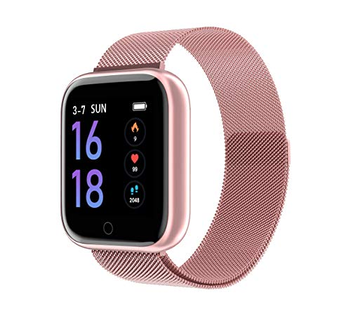 SZHAIYU Smart Watch Bracelet with Blood Pressure Heart Rate Monitor Pedometer Fitness Tracker Smartwatch for Android iOS (Rosegold)