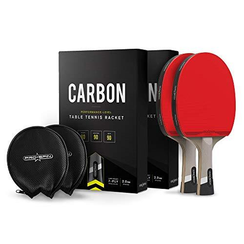 Pro Spin Pala de Ping Pong con Fibra de Carbono – Madera 7-ply, Goma Ofensiva, Esponja 2 mm, Funda de Raqueta de Tenis Mesa Premium– Palas de Ping Pong de Carbono Serie Elite (Pack de 2)