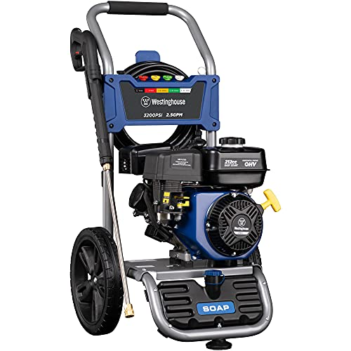 Westinghouse Outdoor Power Equipment WPX3200 Gas Powered Pressure Washer, CARB Compliant, 3200 PSI and 2.5 GPM, Soap Tank and Five Nozzle Set